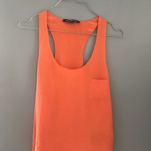 Alexander Wang silk tangerine orange tank top
